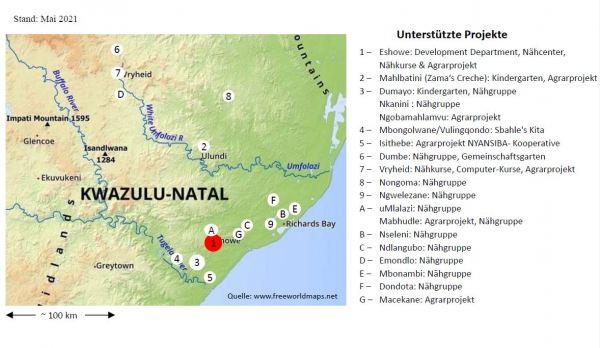 Yebo Projekte auf der Landkarte